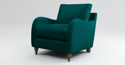 An Image of Custom MADE Sofia Armchair, Plush Mallard Velvet with Light Wood Leg