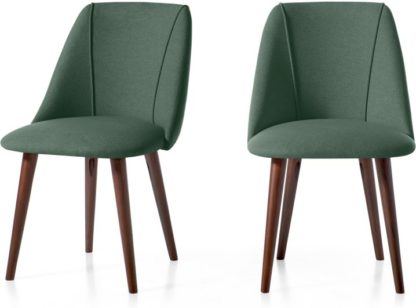 An Image of Set of 2 Lule Dining Chairs, Bay Green and Walnut
