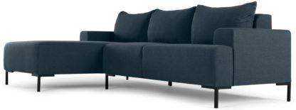 An Image of MADE Essentials Oskar 3 Seater Left Hand Facing Compact Corner Chaise End Sofa, Aegean Blue