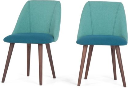An Image of Set of 2 Lule Dining Chairs, Mineral Blue and Emerald Green