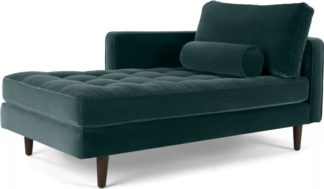 An Image of Scott Left Hand Facing Chaise Longue, Cotton Velvet Petrol