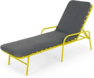 An Image of MADE Essentials Tice Garden Sun Lounger, Chartreuse