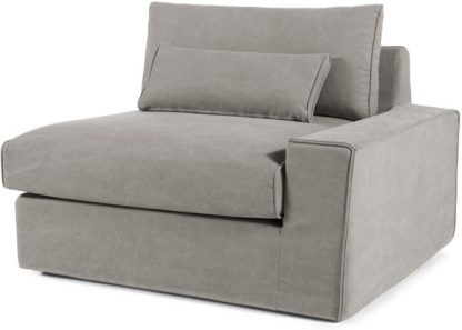 An Image of Trent Loose Cover Modular Right Hand Facing Sofa Arm, Washed Grey Cotton