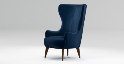 An Image of Custom MADE Bodil Accent Chair, Regal Blue Velvet with Dark Wood Leg