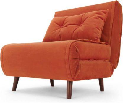 An Image of Haru Single Sofa Bed, Flame Orange Velvet