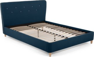 An Image of Burcot King Size Bed, Blue With Contrast Piping
