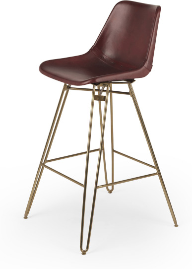 An Image of Kendal Barstool, Oxblood and Brass