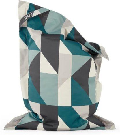 An Image of Small Piggy Bean Bag, Teal Multi Print
