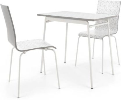 An Image of Made Essentials Ary Dining table and 2 Chairs Set, Printed Pattern and Grey