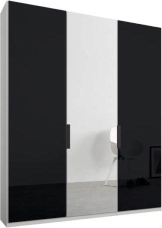 An Image of Caren 3 door 150cm Hinged Wardrobe, White Frame, Basalt Grey Glass & Mirror Doors, Classic Interior