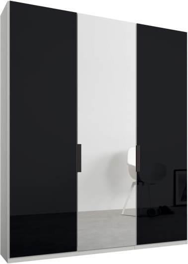 An Image of Caren 3 door 150cm Hinged Wardrobe, White Frame, Basalt Grey Glass & Mirror Doors, Standard Interior
