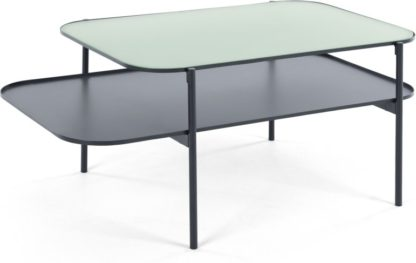 An Image of Grenadine Coffee Table, Navy and Frosted Glass