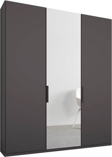 An Image of Caren 3 door 150cm Hinged Wardrobe, Graphite Grey Frame, Matt Graphite Grey & Mirror Doors, Standard Interior