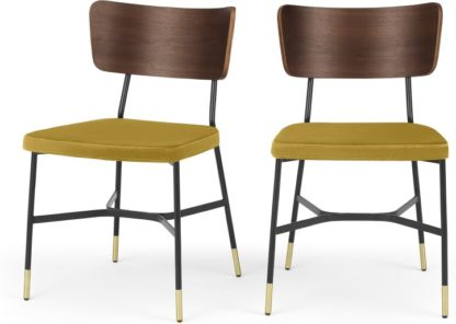 An Image of Set of 2 Amalyn Dining Chairs, Walnut and Vintage Gold Velvet