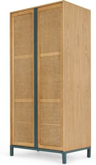 An Image of Reema Double Wardrobe, Natural Oak and Cane