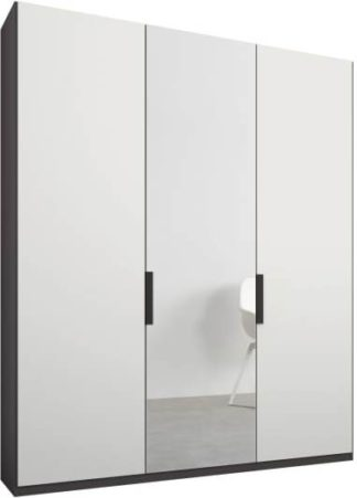 An Image of Caren 3 door 150cm Hinged Wardrobe, Graphite Grey Frame, Matt White & Mirror Doors, Premium Interior