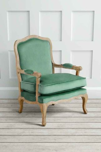 An Image of Le Brun - French Oak Jade Occasional Armchair