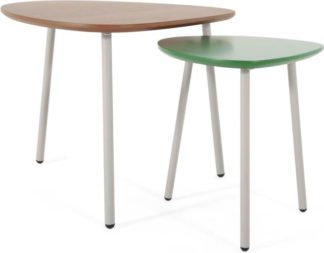An Image of Nyla Nesting Tables, Walnut and Green
