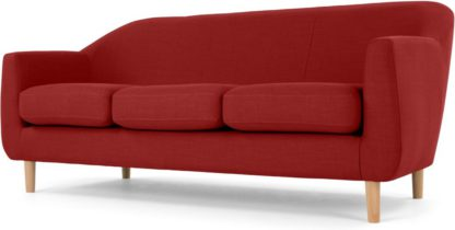 An Image of Tubby 3 Seater Sofa, Postbox Red