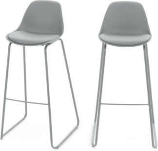 An Image of Set of 2 Duggie Barstools, Light Grey