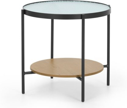An Image of Kameko Side table, Oak and Textured Glass