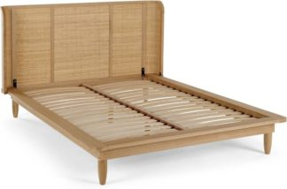 An Image of Liana Double Bed, Ash & Rattan