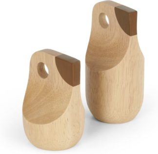 An Image of Chirp Set of 2 Decorative Wooden Birds, Natural