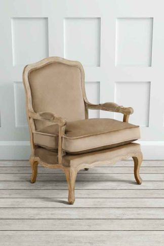 An Image of Le Brun - French Oak Latte Occasional Armchair