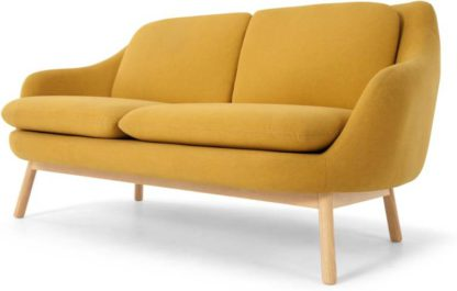An Image of Oslo 2 Seater sofa, Yolk Yellow with Oak legs