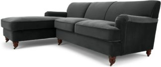 An Image of Orson Left Hand Facing Chaise End Corner Sofa, Midnight Grey Velvet