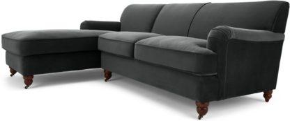 An Image of Orson Left Hand Facing Chaise End Corner Sofa, Midnight Grey Velvet