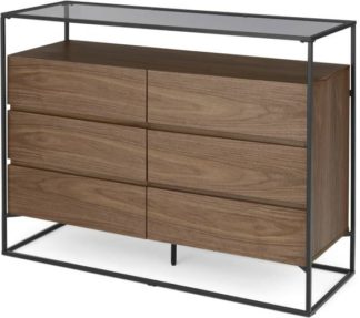 An Image of Jaxta Wide Chest of Drawers, Walnut and Smoked Glass