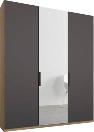 An Image of Caren 3 door 150cm Hinged Wardrobe, Oak Frame, Matt Graphite Grey & Mirror Doors, Classic Interior
