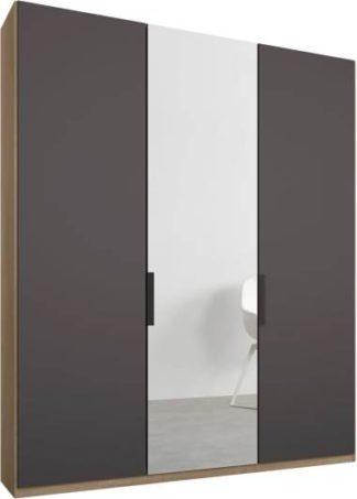 An Image of Caren 3 door 150cm Hinged Wardrobe, Oak Frame, Matt Graphite Grey & Mirror Doors, Premium Interior