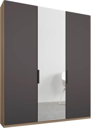 An Image of Caren 3 door 150cm Hinged Wardrobe, Oak Frame, Matt Graphite Grey & Mirror Doors, Standard Interior