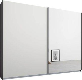 An Image of Malix 2 door 225cm Sliding Wardrobe, Graphite Grey frame,Matt White & Mirror doors , Classic Interior