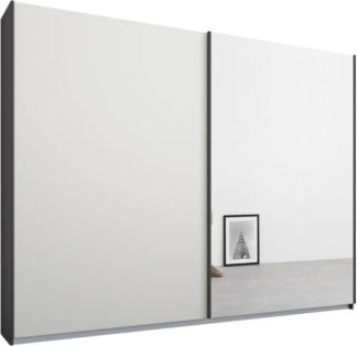 An Image of Malix 2 door 225cm Sliding Wardrobe, Graphite Grey frame,Matt White & Mirror doors , Premium Interior