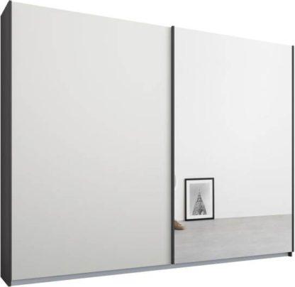 An Image of Malix 2 door 225cm Sliding Wardrobe, Graphite Grey frame,Matt White & Mirror doors, Standard Interior