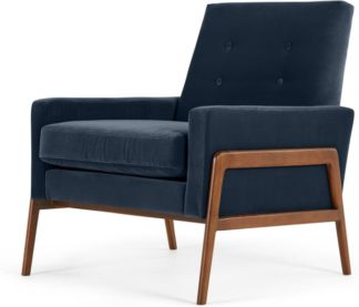 An Image of Cecil Accent Armchair, Cotton Velvet Navy