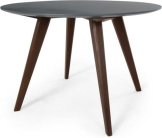 An Image of Aveiro 4 Seat Round Dining Table, Dark Stain Oak and Grey