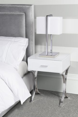 An Image of Aurelia White Glass Bedside Table