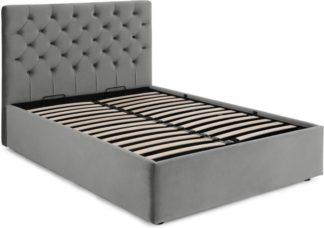 An Image of Skye Ottoman Storage King Size bed, Light Grey Velvet