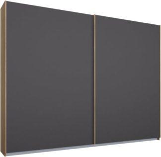 An Image of Malix 2 door 225cm Sliding Wardrobe, Oak frame,Matt Graphite Grey doors , Premium Interior