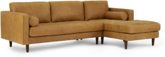 An Image of Scott 4 Seater Right Hand Facing Chaise End Corner Sofa, Charm Tan Premium Leather