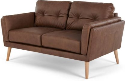 An Image of Sampson 2 Seater Sofa, Walnut Brown Leather