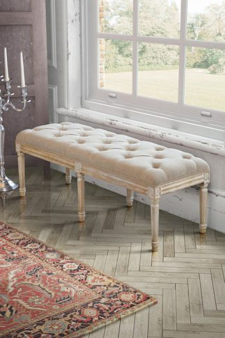 An Image of French Louis Style shabby chic hand carved Long Bench