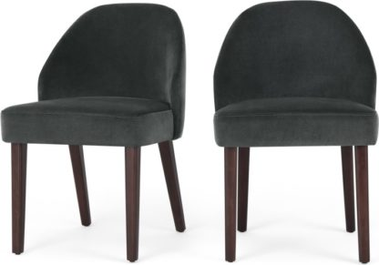 An Image of Set of 2 Alec Dining Chairs, Midnight Grey Velvet and Dark Stain