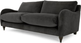 An Image of Sofia 3 Seater Sofa, Plush Asphalt Velvet