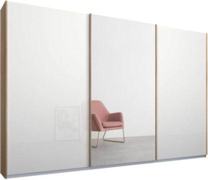 An Image of Malix 3 door 270cm Sliding Wardrobe, Oak frame,White Glass & Mirror doors , Classic Interior