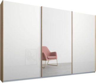 An Image of Malix 3 door 270cm Sliding Wardrobe, Oak frame,White Glass & Mirror doors, Standard Interior